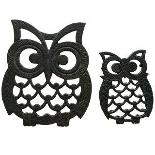 Vintage Black Owl Trivets - Pair