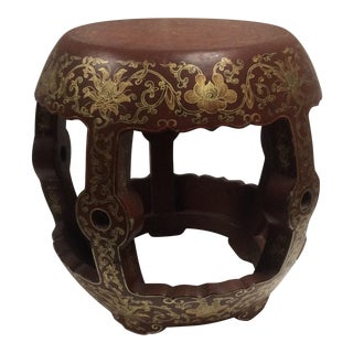 Chinese Red & Gold Lacquered Stool