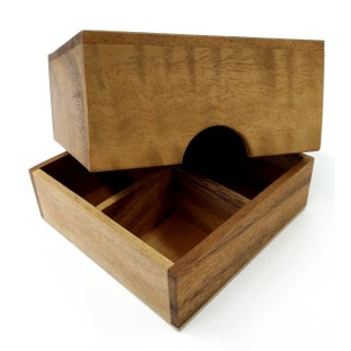 Handmade Sectioned Wood Box with Lid