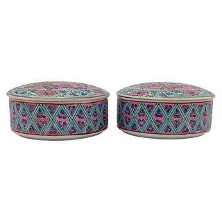 Famille Rose Porcelain Boxes - Pair