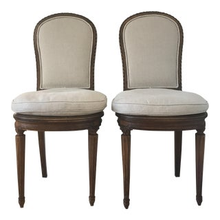 Antique Belgian Linen Dining Chairs - a Pair