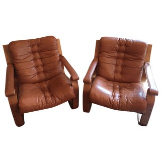 Mid-Century Scanform Leather Bentwood Chair - Pair