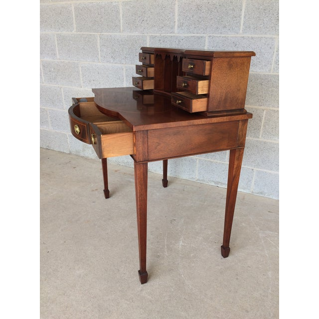 Baker Furniture Inlaid Mahogany 9 Drawer Writing Desk - Image 4 of 9
