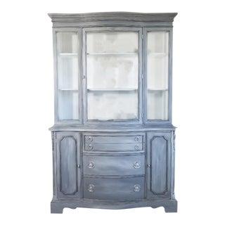 Duncan Phyfe Style Mahogany Cabinet & Hutch