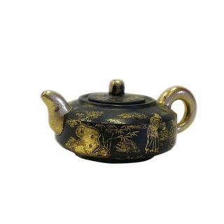 Chinese Zisha Clay Black Golden Scenery Teapot Display