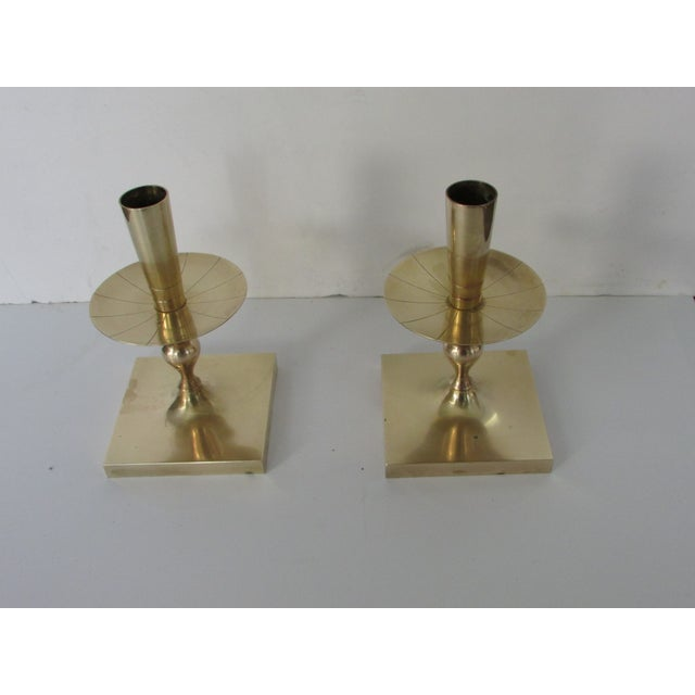 Tommi Parzinger Brass Candlesticks - Pair - Image 3 of 4