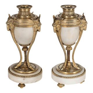 Pair of Fine French Ormolu and Alabaster Candlesticks with Goat & Hoof Motif