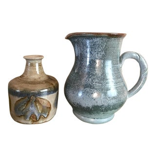 Studio Pottery Signed Pitcher and Vase