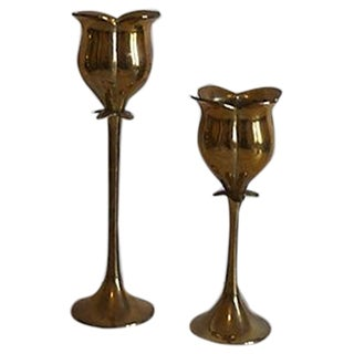 Brass Tulip Candle Holders - A Pair