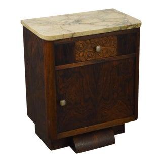 Antique European Art Deco Burl Wood Marble Top Nightstand Cabinet