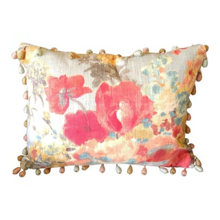 Floral Feather & Down Pillow With Vintage Bead Tassels