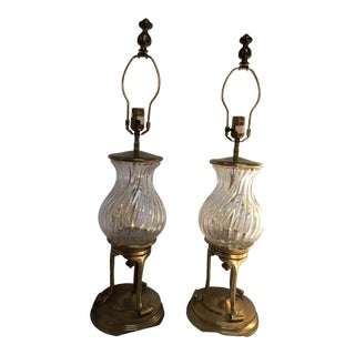 Chapman Brass & Glass Table Lamps - A Pair