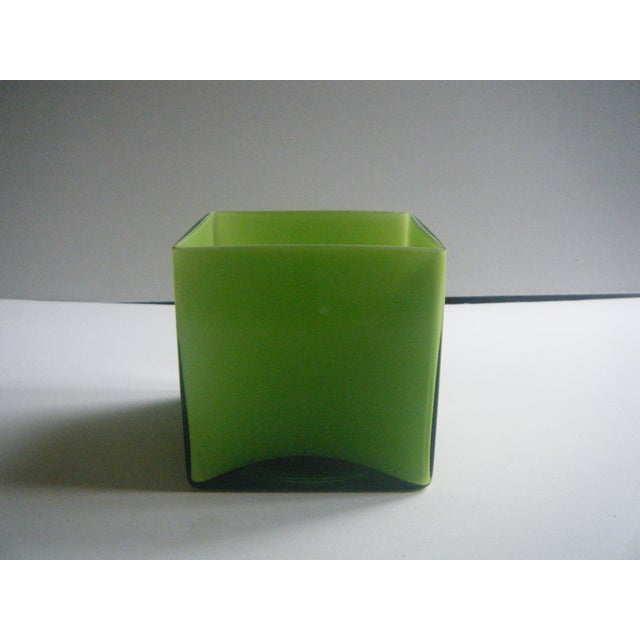 Modern Style Two-Toned Green Square Glass Vase - Image 2 of 4