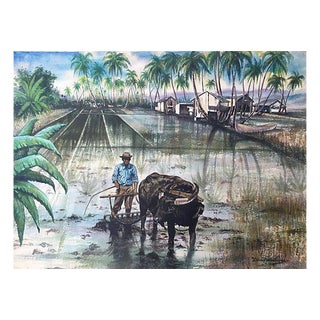 Vintage Asian Rice Farmer Watercolor Painting