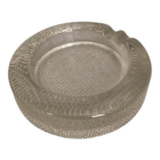 Large Round Mid-Century Clear Glass Ashtray