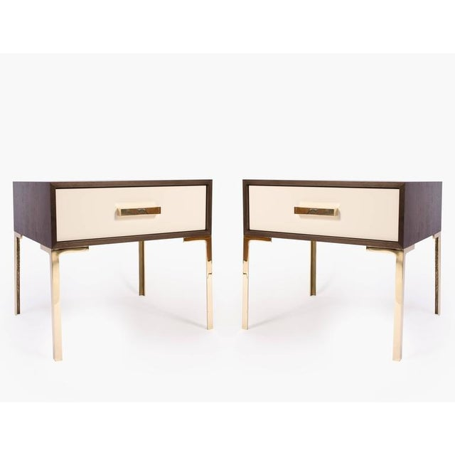 Astor Nightstands in Contrasting Ebony & Ivory by Montage - Image 2 of 10