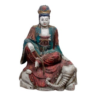 Carved Wood Bodhisattva Statue Guanyin