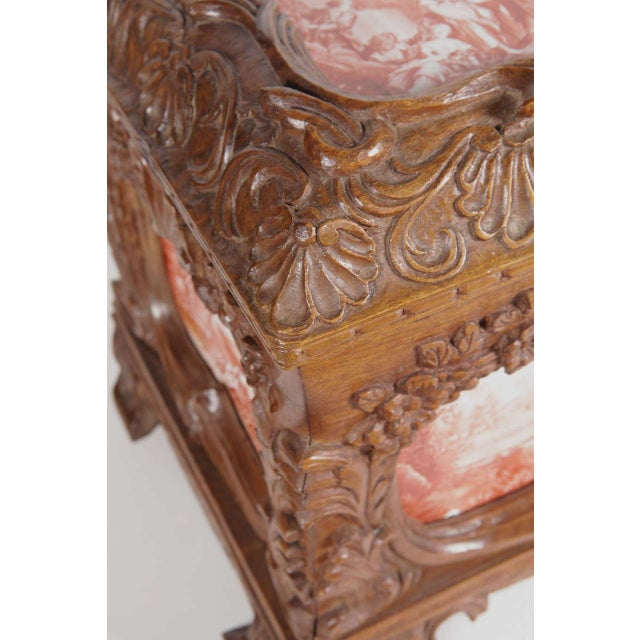 19th Century French Carved & Hand-Painted Pastoral Scenes Tile Jewelry Box - Image 6 of 9