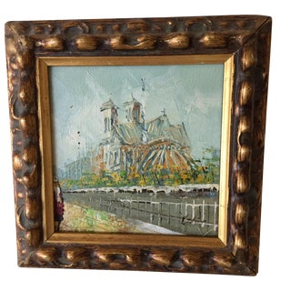 Notre Dame Oil on Canvas Board Painting