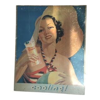 """Vintage """"Orange Crush"""" Ad on Wood Backing"""