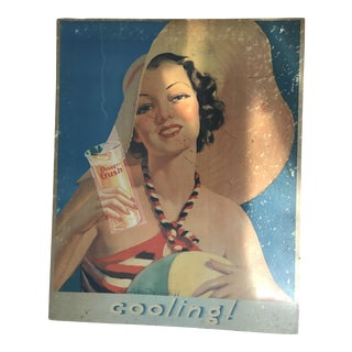"Vintage ""Orange Crush"" Ad on Wood Backing"
