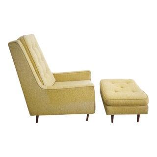 Mid-Century High Back Arm Chair & Ottoman - A Pair