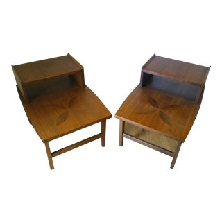 Vintage Lane Rosewood Inlay End Tables - A Pair