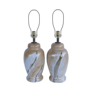 Vintage Faux Marble Table Lamps - A Pair