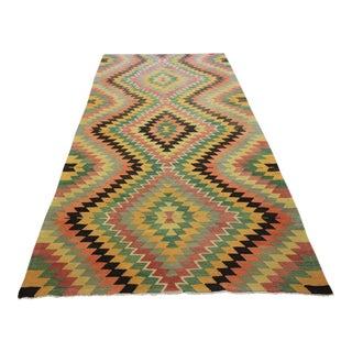 "Vintage Handwoven Turkish Anatolian Kilim - 5'3"" X 10'9"""