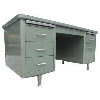 Vintage Steelcase Metallic Green Metal Tanker Desk