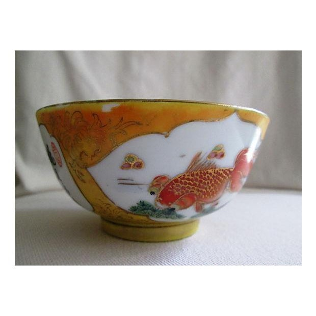 Image of Mid-Century Chinese Yellow Koi Fish Fingertip Bowl