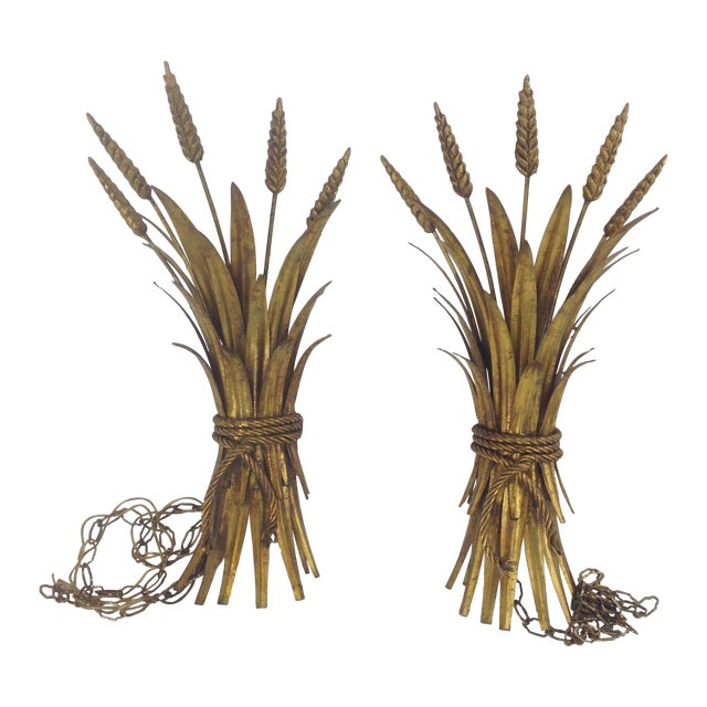 Hollywood Regency Gold Wheat Sconces - Pair - Image 1 of 7