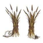 Image of Hollywood Regency Gold Wheat Sconces - Pair
