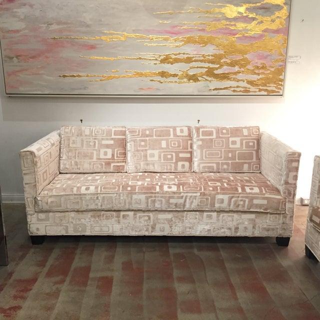 Custom Mid Century Sofa in Champagne Velvet - Image 3 of 11