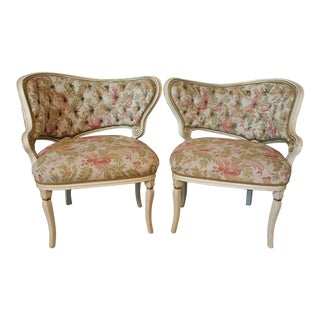 Vintage Asymmetrical French Tufted Back Chairs - a Pair