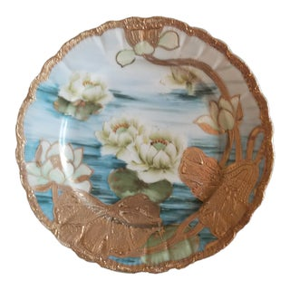 Hand Painted & Gilded Japanese Lily Pads Plate