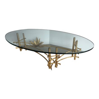 Mid-Century Lotus Gilt Glass Topped Coffee Table