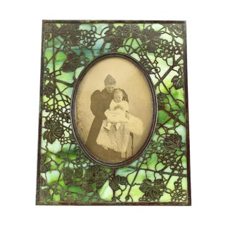 1900 Tiffany Studios Grapevine Pattern Bronze and Green Slag Glass Picture Frame