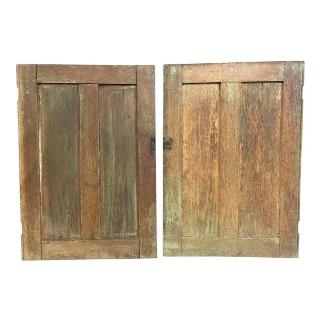 Vintage Rustic Wood Cabinet Doors - A Pair - Image 1 of 11