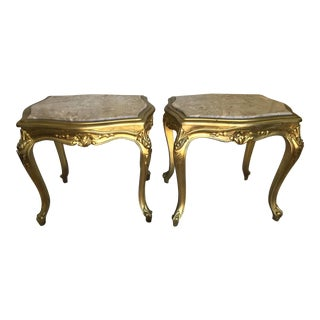 Pair Of French Carved Petite Tables With Marble