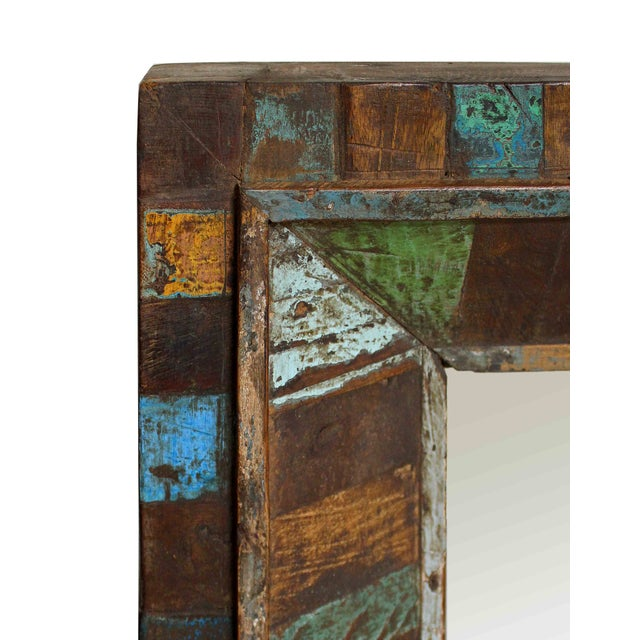 Reclaimed Painted Wood Square Mirror - Image 3 of 3