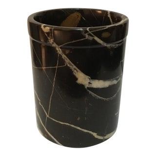 Mid-Century Black Carerra Marble Vase