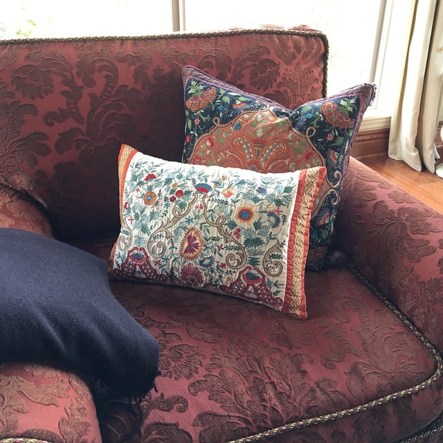 Luxury Silk Embroidered Decorative Pillow - Image 5 of 8