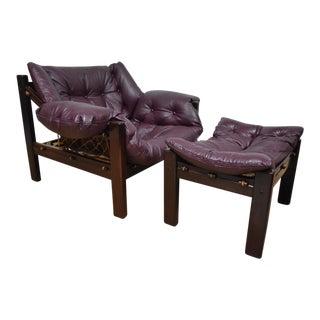 Jean Gillon Leather Lounge Chair & Ottoman