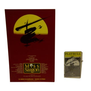 "1990 Vintage Broadway Theater Poster and Autographed Playbill of ""Miss Saigon"" - Set of 2"