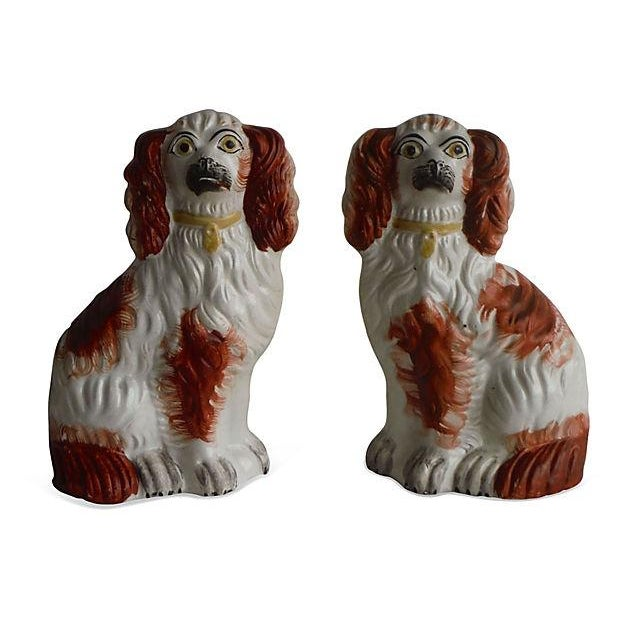 19th C. English Staffordshire Spaniel Dogs - Pair - Image 1 of 3