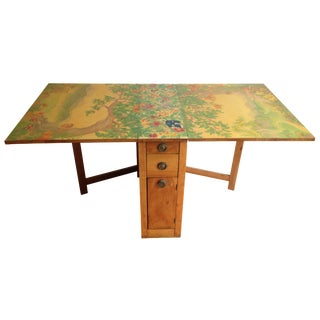 1920s Hand-Painted Drop Leaf Table