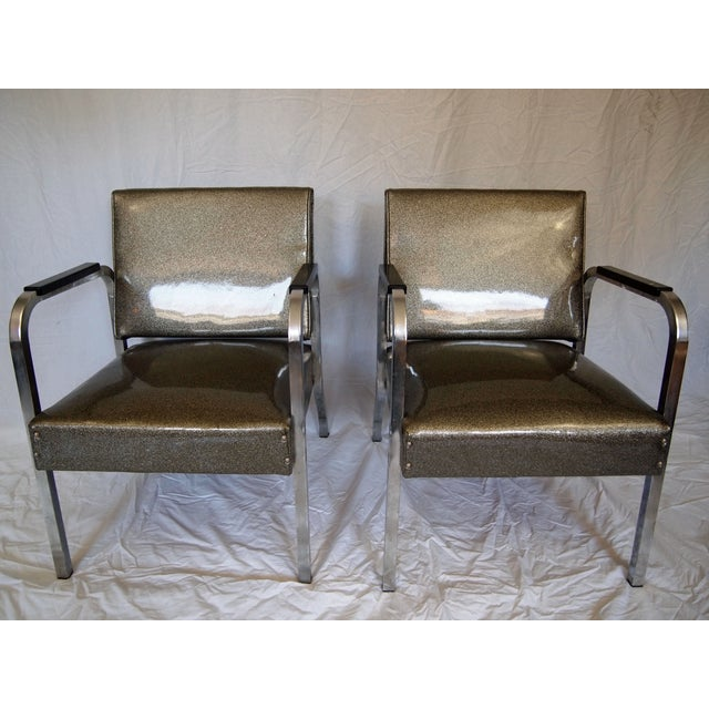 Chrome Chairs With Vinyl Seats - Pair - Image 2 of 5