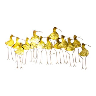 Curtis Jere Gold Metal Sandpiper Wall Art