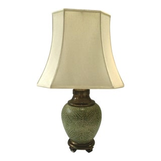Celadon Lamp with Brass Base & Pineapple Finial